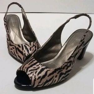 NATURALIZER Lerman Taupe Black Stripe heels 7 1/2W